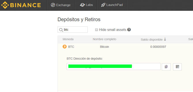 deposito btc binance