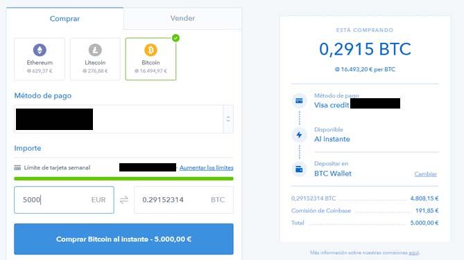 comprar bitcoin coinbase